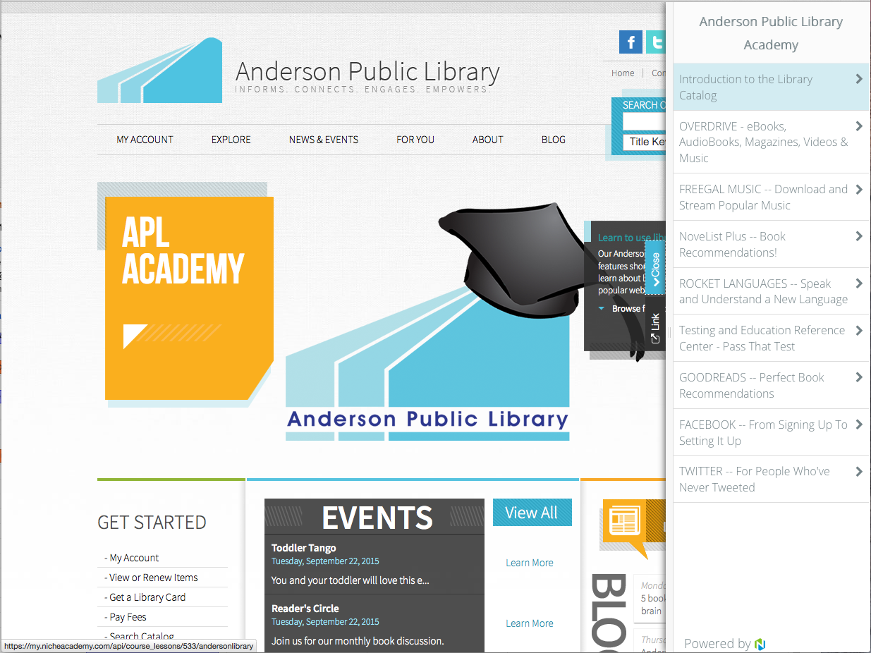 Anderson Public Library Home Page with Side Slider