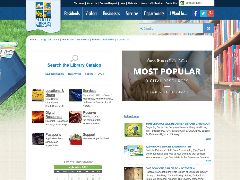Chula Vista Public Library Home Page